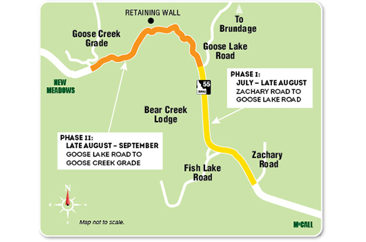 Idaho 55 Zachary to Goose Creek Map