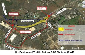 Department of Transportation | Overnight closure of the eastbound H-1 Freeway between Campbell Industrial Park (Exit 1A) and Wakea Street onramp has been rescheduled for Wednesday, Nov. 14