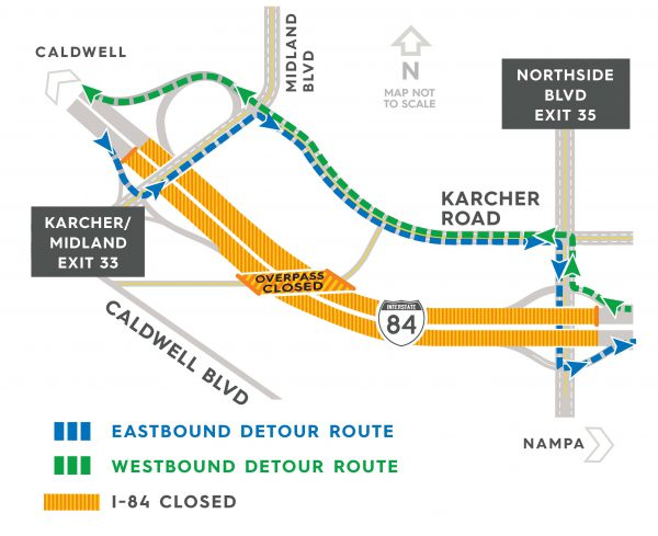 Detour map of I-84 in Nampa