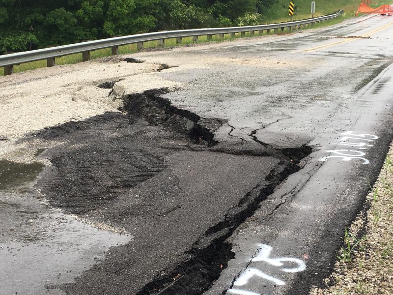 Road failure Iowa 92 MM 249