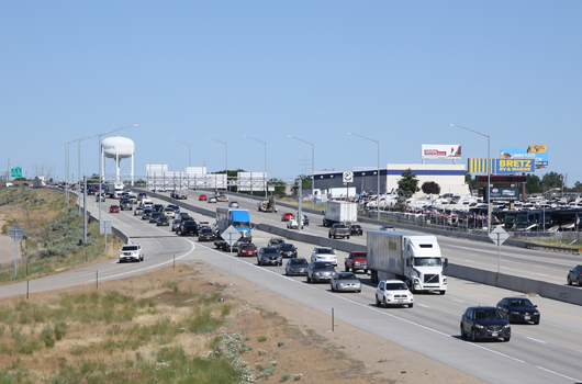Traffic on WB I-84 near the Franklin Blvd interchange