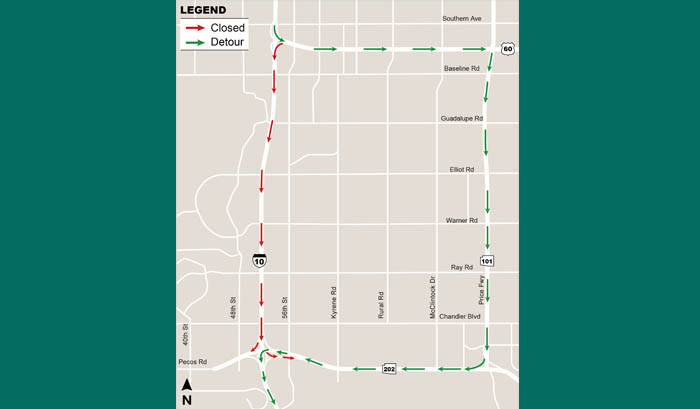 10 eastbound closure map
