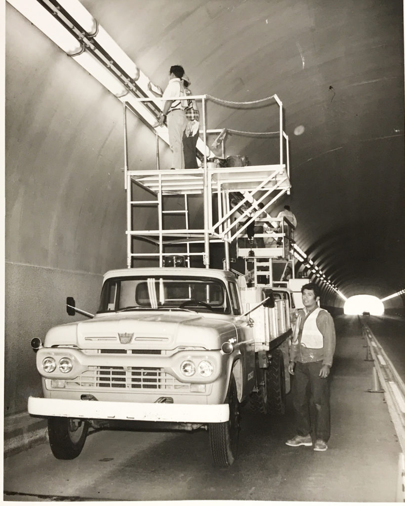 Tunnel light cleaning October 1971