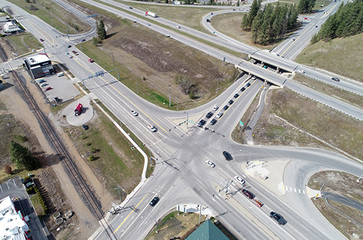 Aerial photo of the I-90 ID-41 interchange in 2020