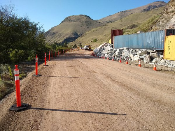 A temporary road is ready around the slide on US-95 at milepost 188.