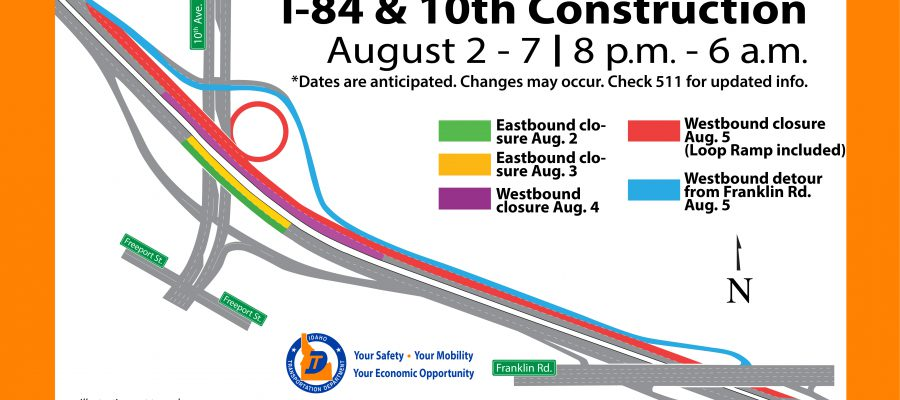 Closure Map for I-84 and 10th Ave